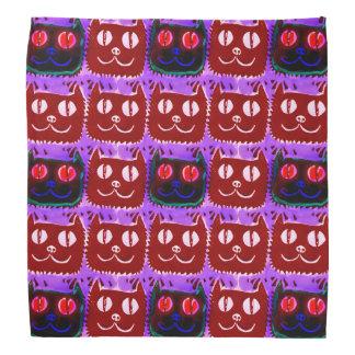 big eyes cat head tiled pattern inverse head kerchief