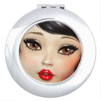 Big eyes girl face mirror vanity mirrors