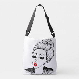 Big eyes goth girl red lips kiss crossbody bag