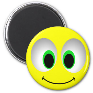 BIG EYES SMILEY FACE 6 CM ROUND MAGNET