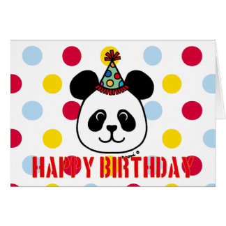 Big Face Panda Cartoon Birthday Card