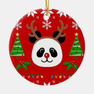 Big Face Panda Cartoon Christmas Antlers Christmas Ornament