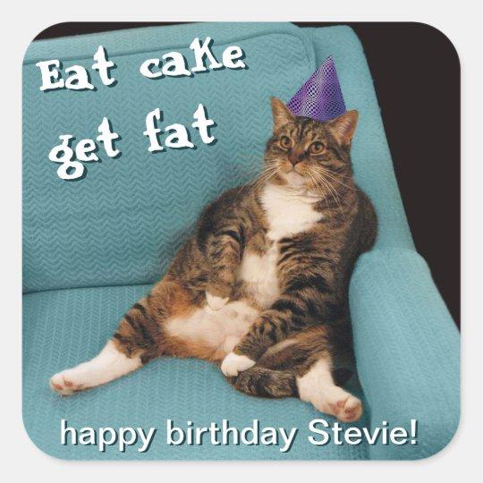 Big Fat Cat Sitting in Chair Purple Birthday