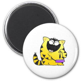 Big Fat Funny Cat 6 Cm Round Magnet