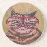 Big Fat Glasses Cat Coaster