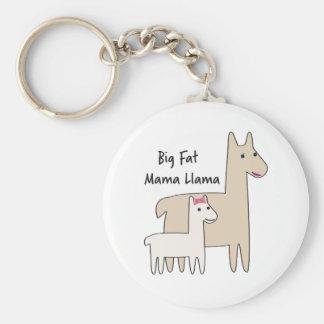 Big Fat Mama Llama Basic Round Button Key Ring