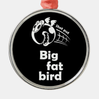 Big fat shot put bird Silver-Colored round decoration