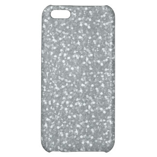 Big Faux Glitter Shiny Sparkles Silver White Color Case For iPhone 5C