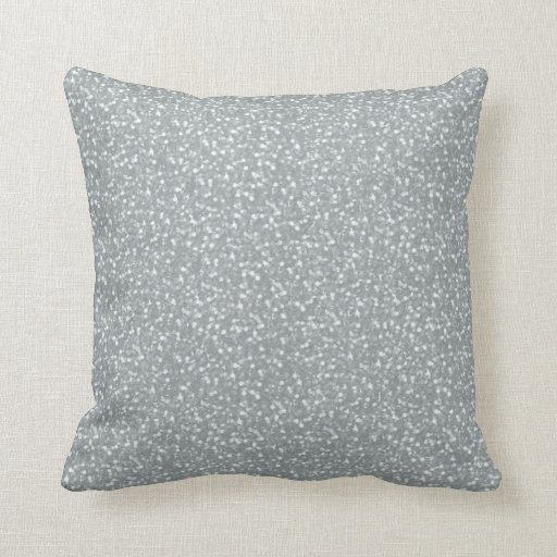 Big Faux Glitter Shiny Sparkles Silver White Color Throw Pillow