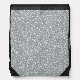 Big Faux Glitter Shiny Sparkles Silver White Color Drawstring Backpacks