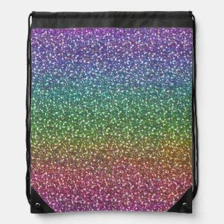 Big Faux Glitter Sparkles Shiny Rainbow Color Drawstring Bag