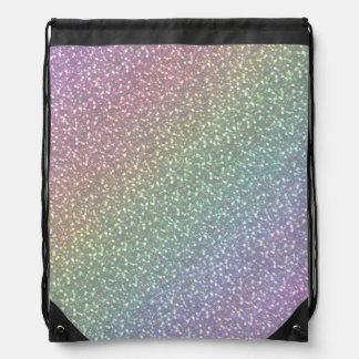 Big Faux Glitter Sparkles Shiny Rainbow Pearl Drawstring Backpacks