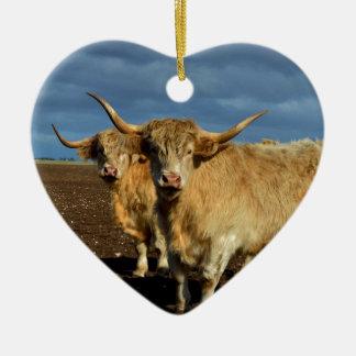 Big_Fawn_Highland_Cows,_ Ceramic Heart Decoration