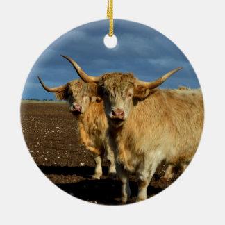 Big_Fawn_Highland_Cows,_ Round Ceramic Decoration