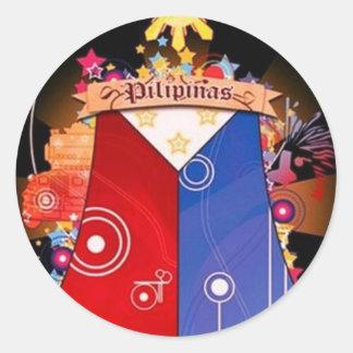 big filipino flag round sticker