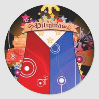 big filipino flag round stickers