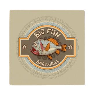 Big Fish Bar And Grill Poster Wood Coaster