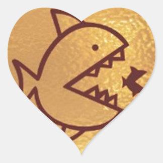 BIG fish eat  SMALL FISH Heart Sticker