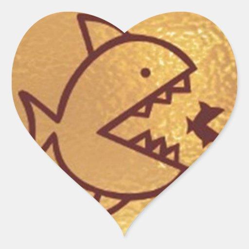 BIG fish eat  SMALL FISH Heart Stickers