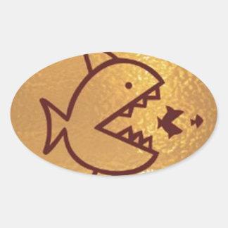BIG fish eat  SMALL FISH Oval Sticker