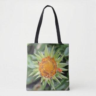 Big flower a la Van Gogh on a tote bag