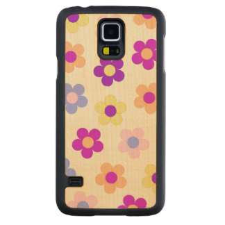 Big Flower Power Design – Yellow Background Carved Maple Galaxy S5 Case