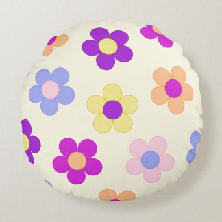 Big Flower Power Design – Yellow Background Round Cushion