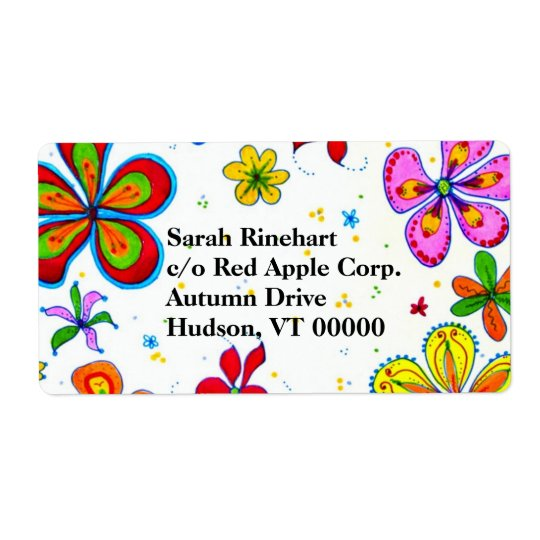 Big Flowers Art Custom Text Shipping Label