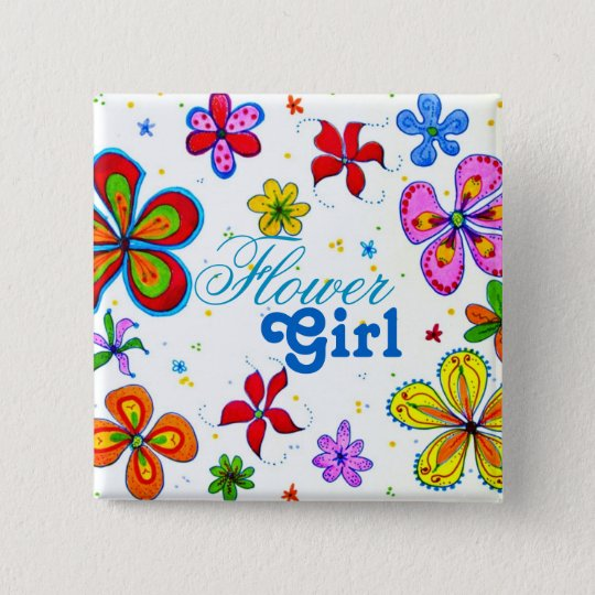 Big Flowers Art Flower Girl Text Pinback Button