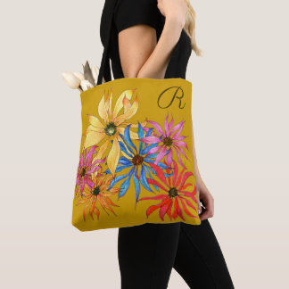 Big Flowers Art Gold Bag Monogram