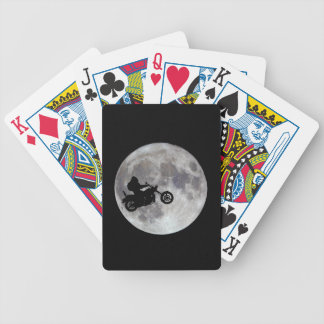 Big foot, big bike and a big bright moon bicycle playing cards