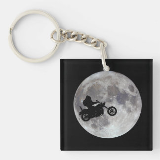 Big foot, big bike and a big bright moon Double-Sided square acrylic key ring