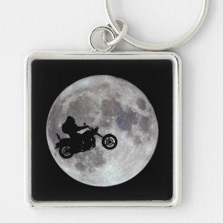 Big foot, big bike and a big bright moon Silver-Colored square key ring