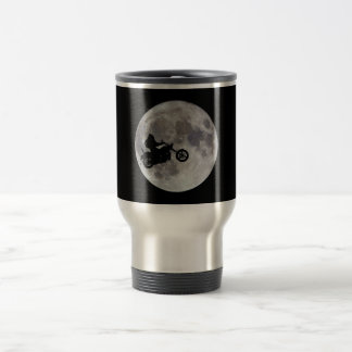 Big foot, big bike and a big bright moon travel mug