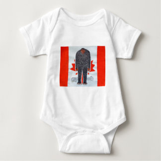 Big foot H, Canada flag. Baby Bodysuit