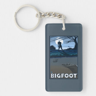 Big Foot walking through Golf Course Double-Sided Rectangular Acrylic Key Ring