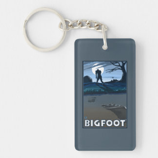 Big Foot walking through Golf Course Double-Sided Rectangular Acrylic Keychain