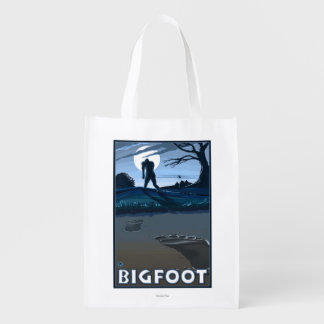 Big Foot walking through Golf Course Reusable Grocery Bag