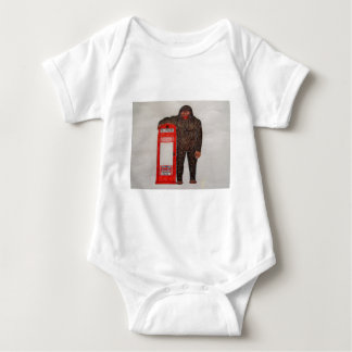 Big foot with phone box, baby bodysuit