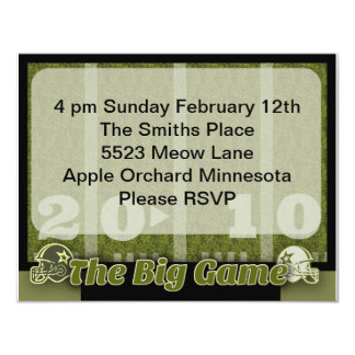 "Big Football Game Party 4.25"" X 5.5"" Invitation Card"