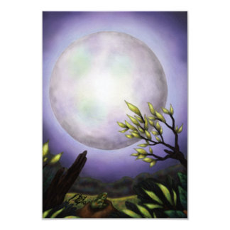 big full moon shining above a landscape card