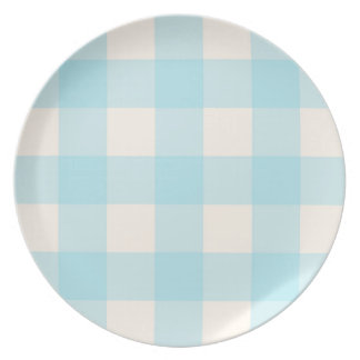 Big Gingham Pattern – Light Blue on Cream Party Plate
