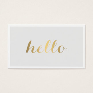 Big Gold Hello Gray and White Business Card