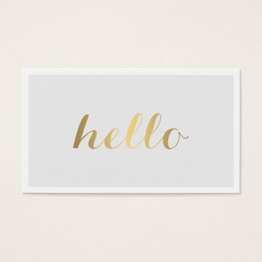 Big Gold Hello Grey and White Business Card