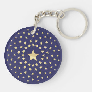 Big Golden Star circled by smaller stars Double-Sided Round Acrylic Key Ring