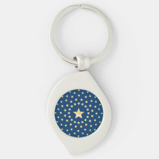 Big Golden Star circled by smaller stars Silver-Colored Swirl Key Ring