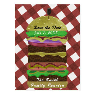 Big Greasy Hamburger Summer Cookout Red BBQ Party Postcard