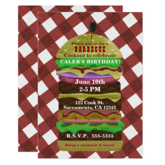 Big Greasy Hamburger Summer Cookout Red Invitation