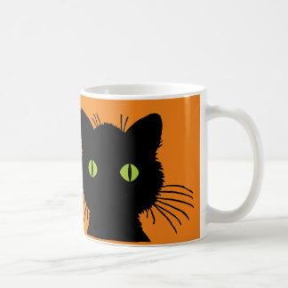 Big Green Eyed Black Cat Happy Halloween Design Coffee Mug