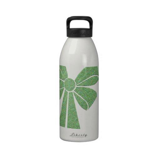 big green festive ribbon reusable water bottle